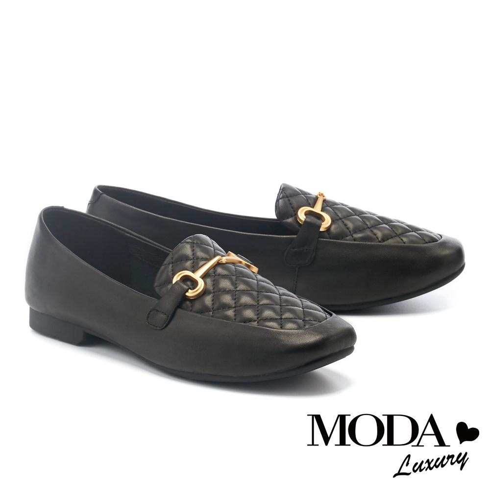 低跟鞋 MODA Luxury 經典知性菱格紋羊皮樂福低跟鞋-黑