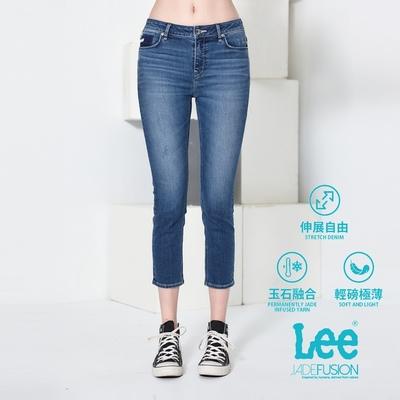Lee 433中腰合身窄管七分牛仔褲 女款 中藍 JADE