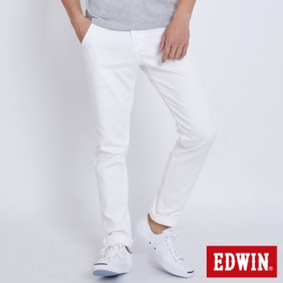 EDWIN 斜袋休閒COOL涼感 窄管牛仔褲-男-白色