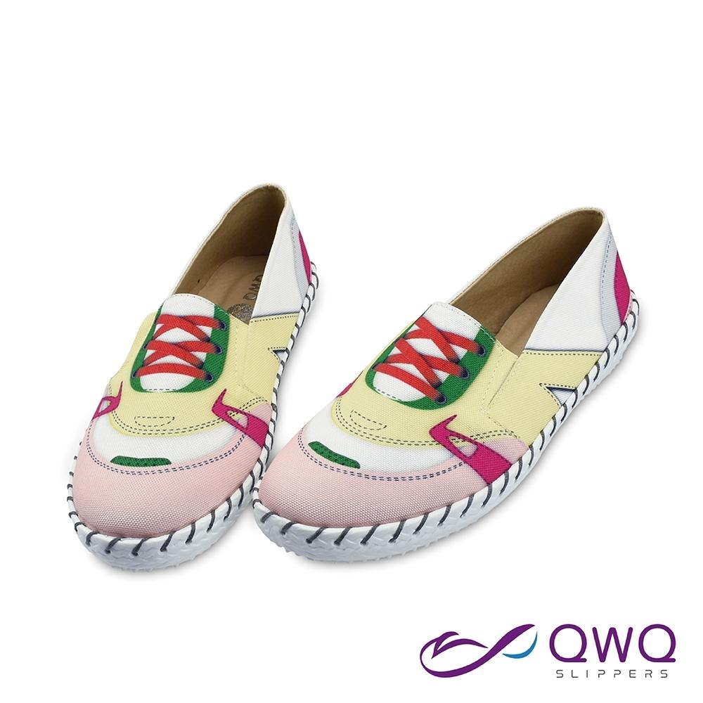 女款懶人鞋防潑水彩繪-輕量休閒鞋柔軟止滑-荻非輕裝-甜心粉