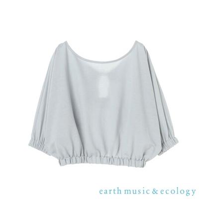 earth music  抓摺綁結設計短版船型領上衣