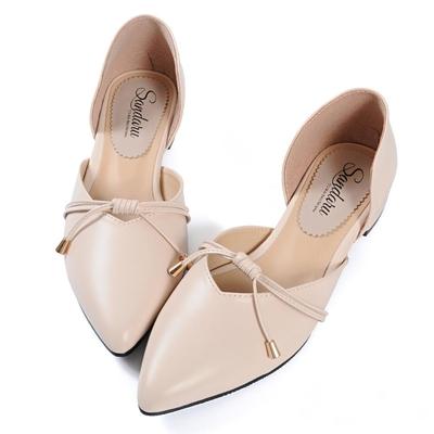 山打努SANDARU-尖頭鞋 日系綁結側簍空低跟鞋-米