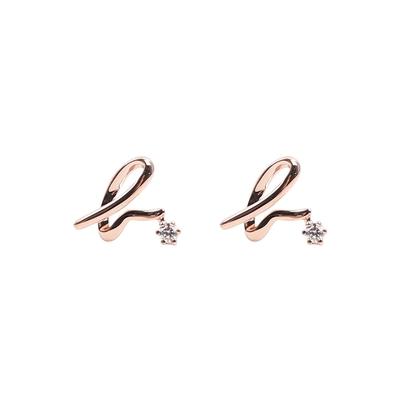 agnes b. logo純銀針式耳環(玫瑰金/一對)