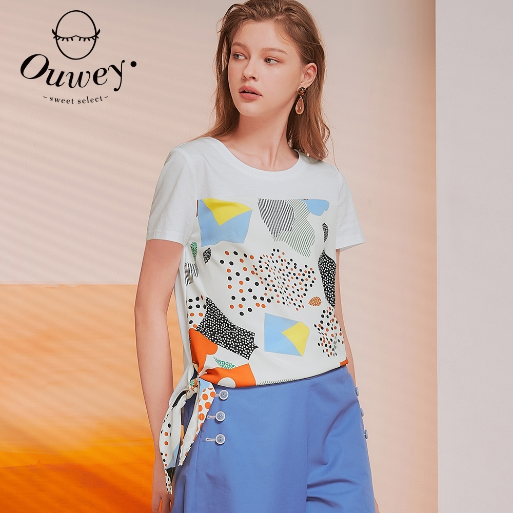 OUWEY歐薇 日系幾何印花綁帶上衣(白)3212081401
