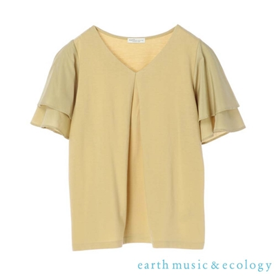 earth music 異素材拼接V領雙層袖設計上衣