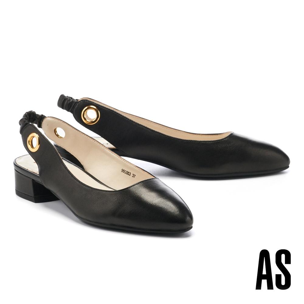 低跟鞋 AS 義式情調兩穿造型羊皮繫帶低跟鞋-黑