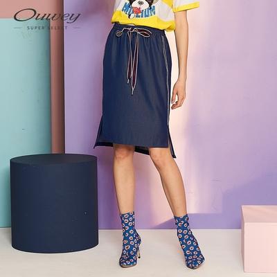 OUWEY歐薇 運動風織帶仿牛仔A字裙(藍)