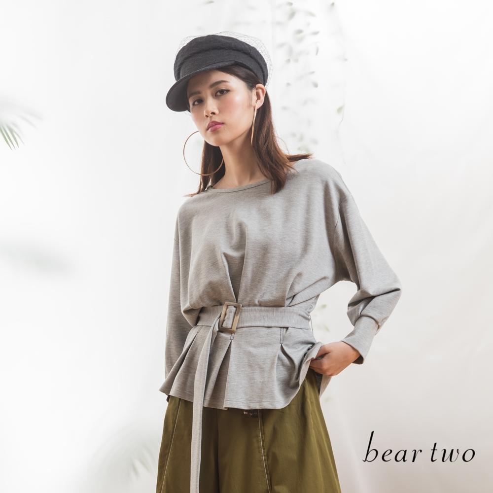 beartwo-附腰帶蝙蝠袖上衣-灰