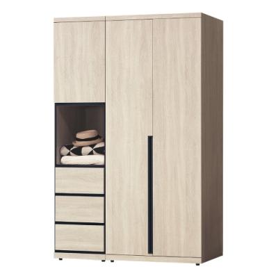 Boden-維森4.2尺三門三抽衣櫃組合(二吊桿)-125x57x202