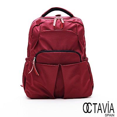 OCTAVIA8 -  學院時代 尼龍多口袋功能厚實後背包 - 活潑紅