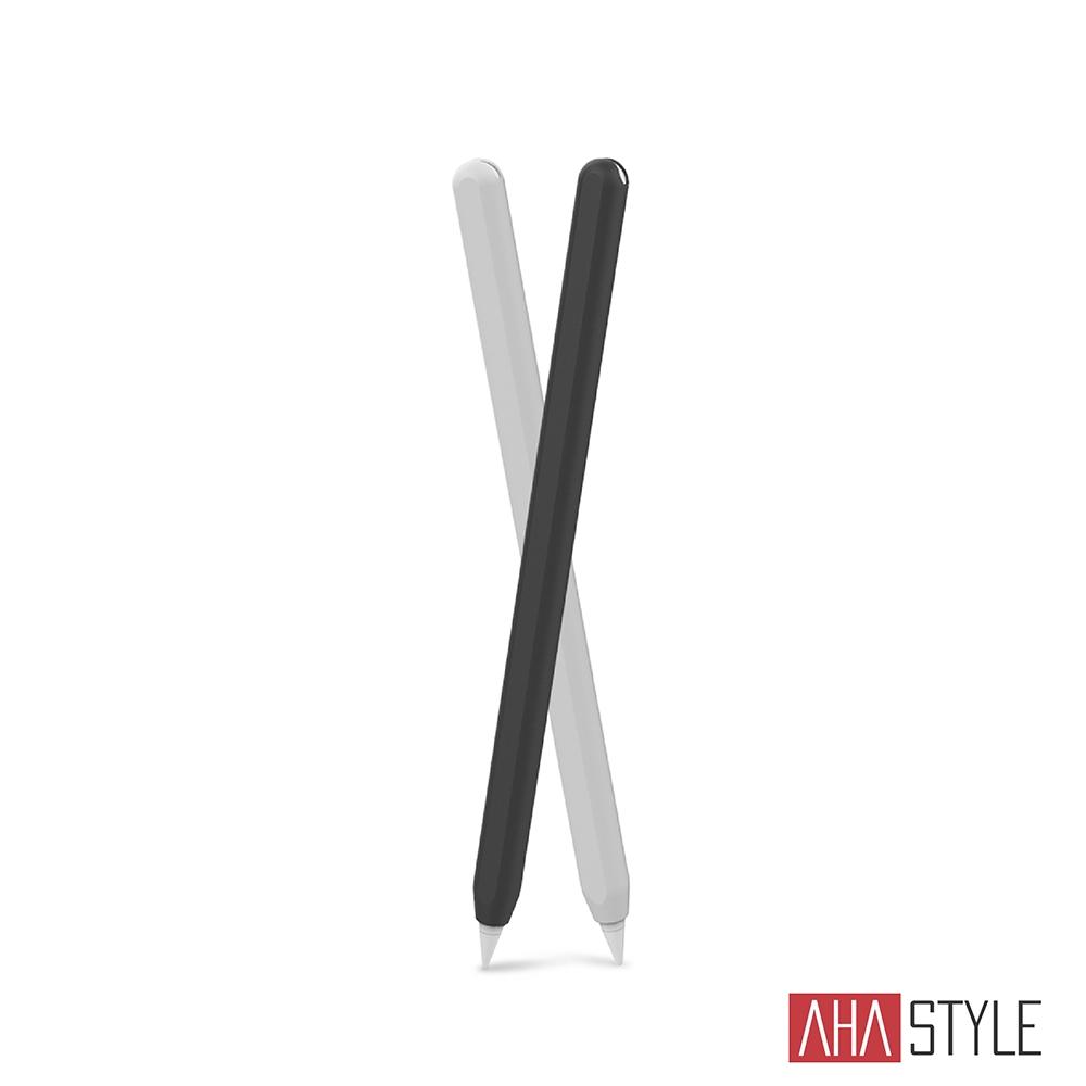 AHAStyle Apple Pencil 2代 筆套 超薄矽膠保護套 雙色2入 黑+白