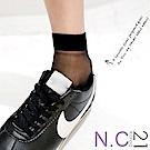 N.C21- 正韓 純色透膚紗中筒襪 (黑色)