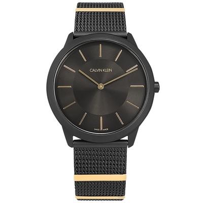 CK 典藏品味 簡約時尚 米蘭編織不鏽鋼手錶-鍍黑/40mm