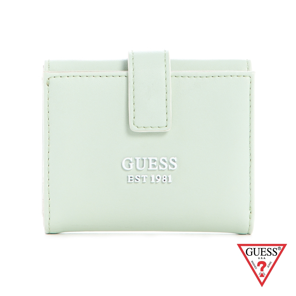 GUESS-女夾-簡約糖果色LOGO三折短夾-綠 原價1090