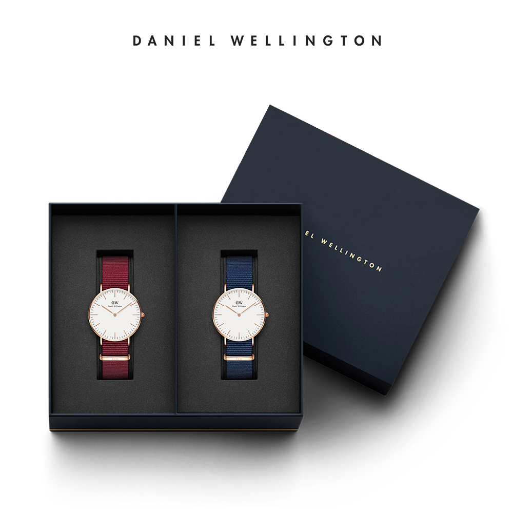 DW 禮盒 官方直營 36mm玫瑰紅織紋錶X 40mm星空藍織紋手錶(編號12)