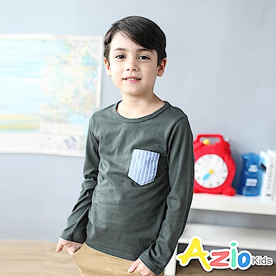 Azio Kids 上衣 直條紋單口袋造型長袖圓領T恤(軍綠)