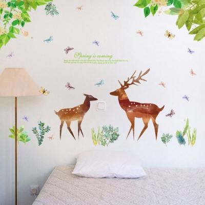 半島良品 DIY北歐風無痕壁貼 SK9176-綠葉與鹿 60X90