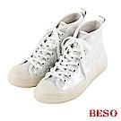 BESO 豹紋風情 透視金蔥防潑水雨鞋~白