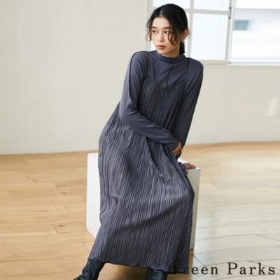 Green Parks 【SET ITEM】緞面細肩帶百褶連身洋裝+素面圓領上衣