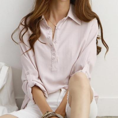 正韓 純色簡約多鈕扣長袖襯衫 (共三色)-N.C21