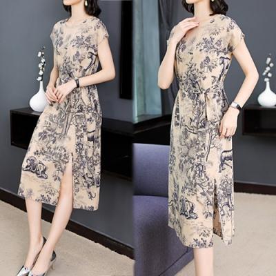 【韓國K.W.】韓新品超盛復古繫帶印花洋裝