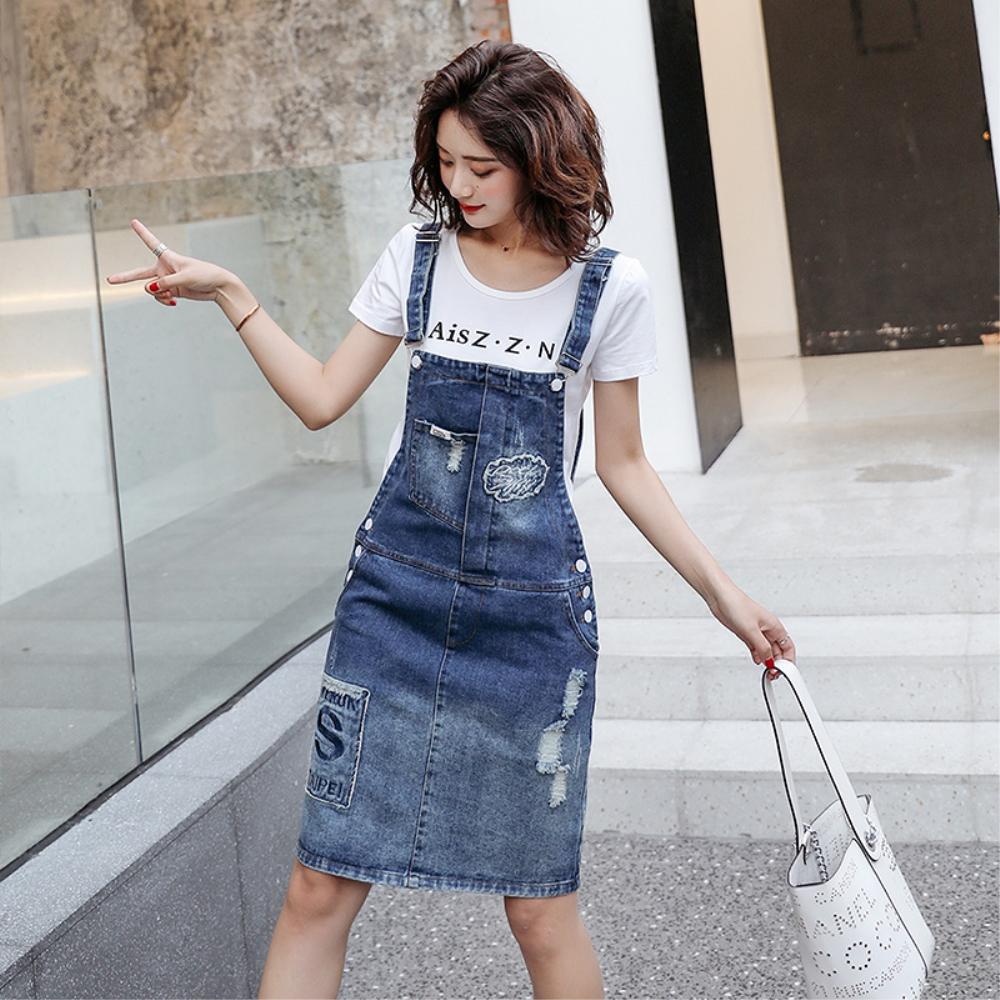 DABI 韓系字母T恤短袖牛仔背帶裙套裝短袖裙裝