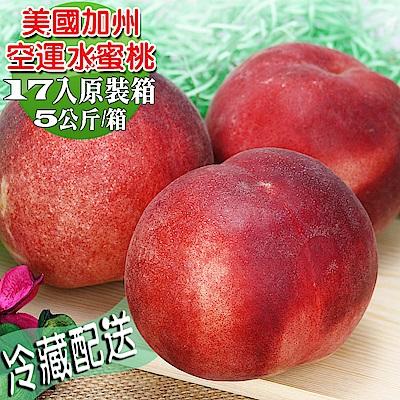 愛蜜果 美國空運加州水蜜桃17入原裝箱~約5公斤/箱(冷藏配送)