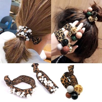 日韓 豹紋手工鉚釘珍珠打結髮圈-2入贈彩虹珍珠髮圈1入+橡皮筋髮束kiret