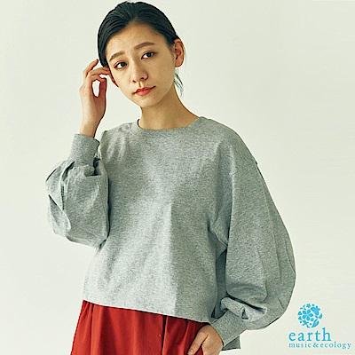 earth music 休閒感澎袖側開衩上衣