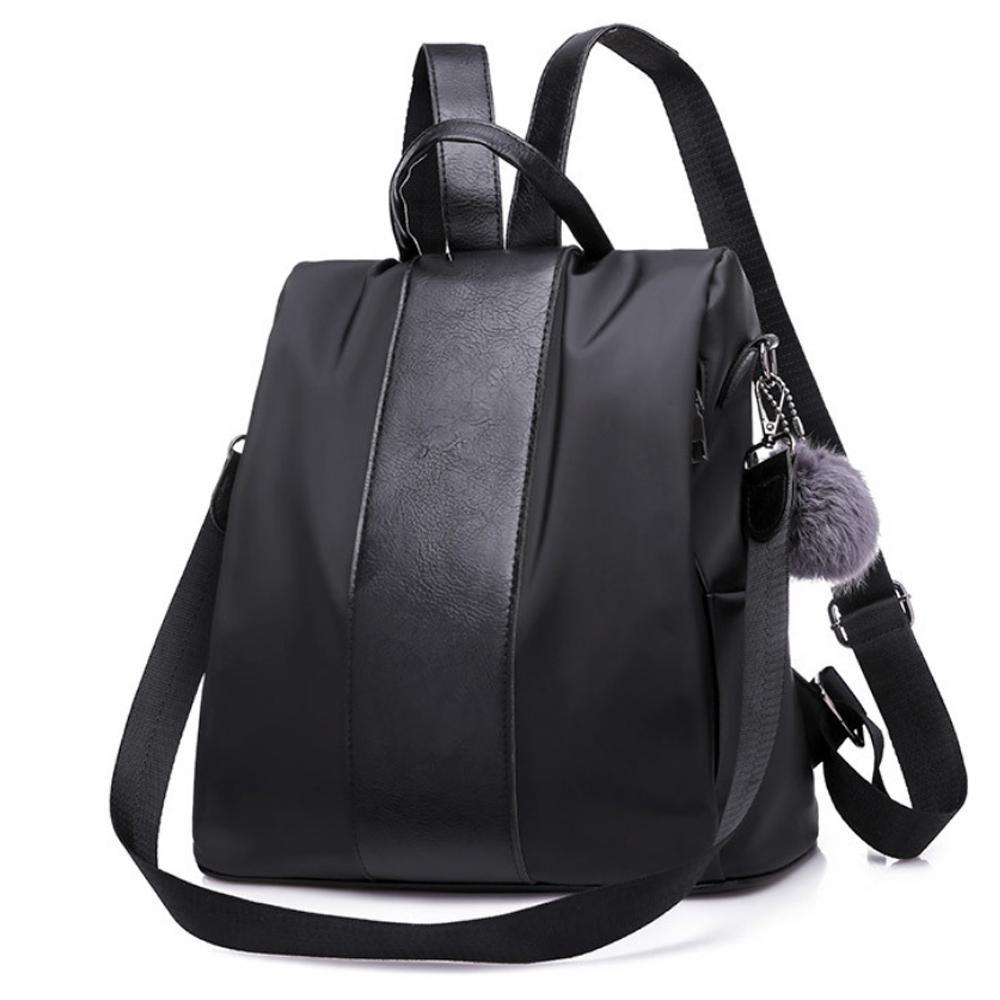I.Dear-韓系俏麗皮革裝飾條紋尼龍雙肩後背包(BG92黑色)