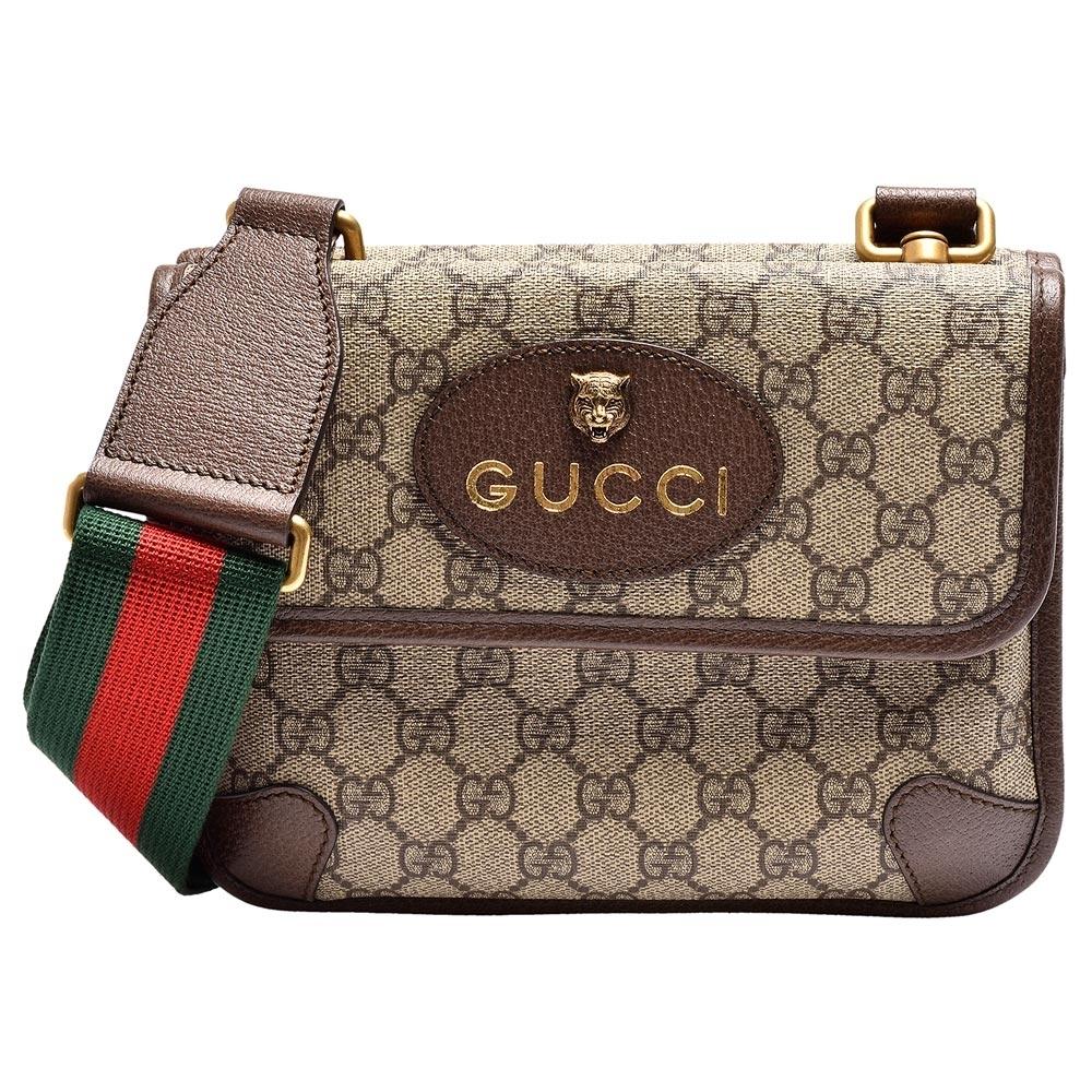 GUCCI 經典虎頭標誌GG Supreme帆布印花綠紅綠背帶皮革飾邊拉鍊手拿/斜背信差包