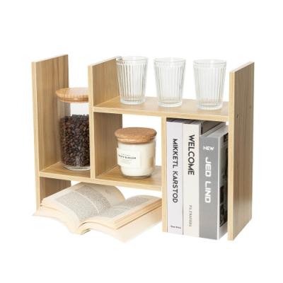 樂嫚妮 H型多用途收納置物書架/桌面/伸縮-淺胡桃木色-寬30~62X深15X高35cm