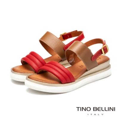Tino Bellini義大利進口全真皮舒足小坡跟涼鞋_紅