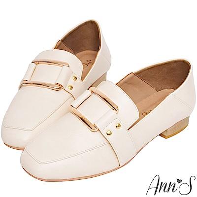 Ann'S適度文青-不破內裡金色方扣皮革兩穿紳士穆勒鞋-杏