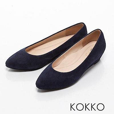 KOKKO-女紳時尚尖頭楔型跟鞋-深牡丹藍