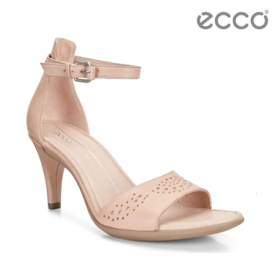 ECCO SHAPE 65 SLEEK SANDAL 氣質繫帶高跟涼鞋 女-裸粉