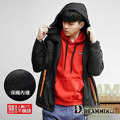 Dreamming 美式多功能抓絨防潑水連帽衝鋒外套-黑色