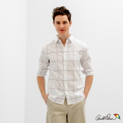 Arnold Palmer -男裝-純棉府綢格子襯衫-白色