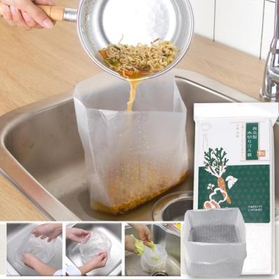 EZlife水槽自立式菜渣瀝水袋(30枚)*2組(贈楓葉超纖抹布10入組)