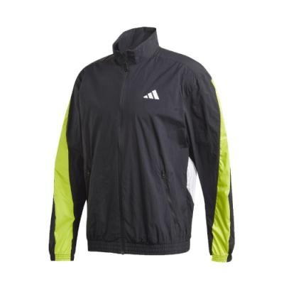 adidas 外套 Tape Track Jacket 男款 愛迪達 風衣 輕便 螢光色 防潑水 黑 綠 FR6599