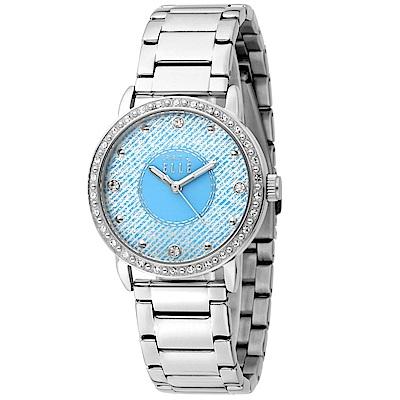 ELLE -清新晶鑽不鏽鋼腕錶-淡粉藍/銀-32mm