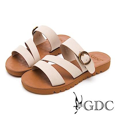 GDC-超Q軟舒適春夏必備一字扣帶拖鞋-米色