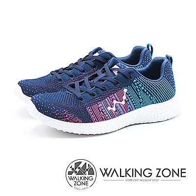WALKING ZONE 天痕戶外W系列 飛線編織慢跑休閒 女鞋 - 深藍