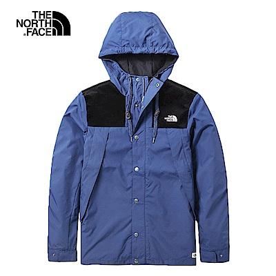 The North Face北面男款深藍色防潑水連帽風衣|3VTZHDC