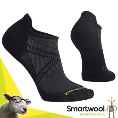 SmartWool 美國製造 美麗諾羊毛 PhD Run 低筒薄羊毛跑步襪(2入)_黑