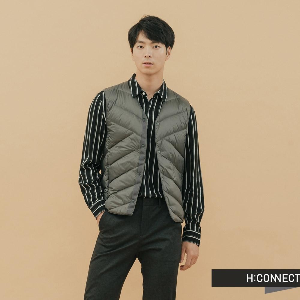 H:CONNECT 韓國品牌 男裝-素面保暖羽絨背心-灰