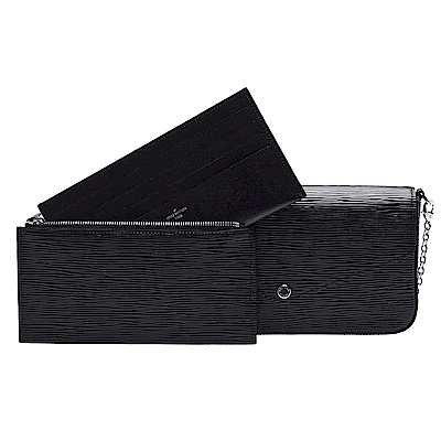 LV M62648經典Pochette Felicie EPI皮革暗釦銀鍊手拿/斜背包-黑