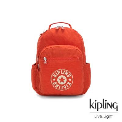 Kipling 晴朗陽光橘經典LOGO機能手提後背包-SEOUL