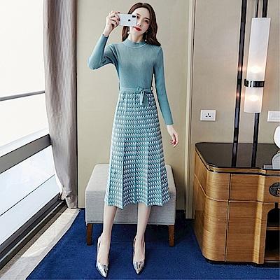 DABI 韓系半高領毛衣拼接千鳥格復古修身針織長袖洋裝