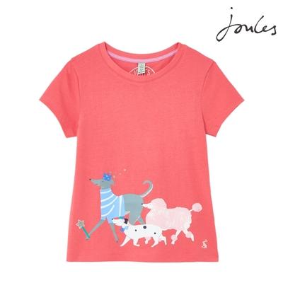 英國【Joules】Pixie粉紅狗狗短袖上衣